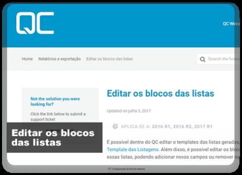 Como editar os blocos das listas